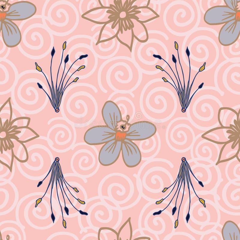 Repetición inconsútil del modelo de las flores tropicales del vector en fondo rosa claro libre illustration