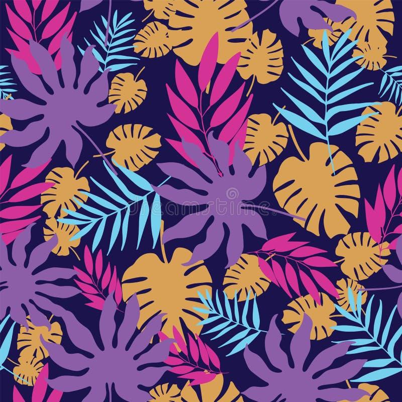 Repetición inconsútil del modelo de las hojas tropicales coloridas del vector ilustración del vector