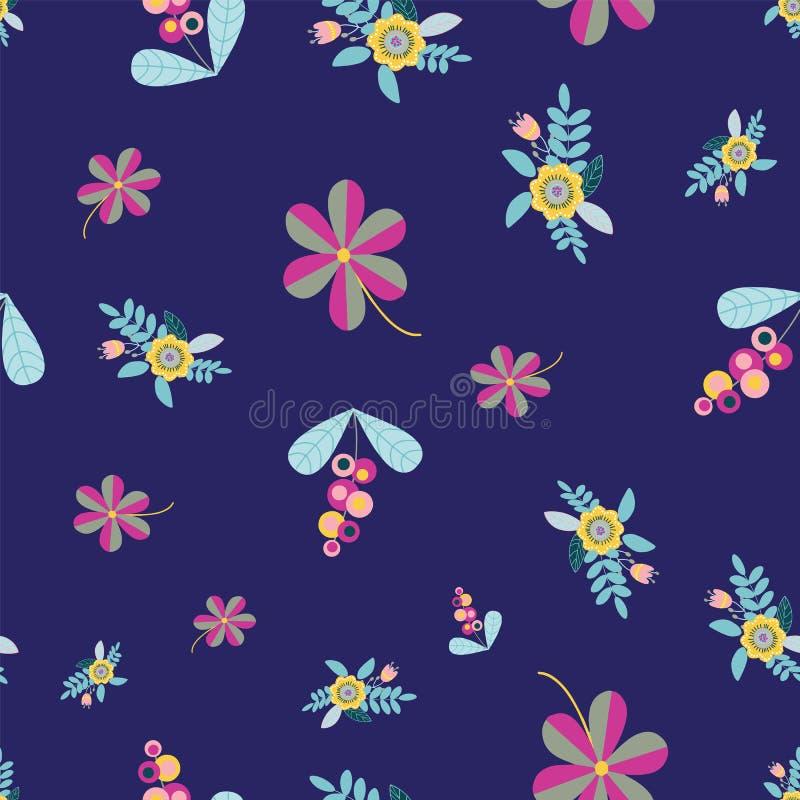 Repetición inconsútil del modelo del vector con adornos florales dispersados al azar del estilo del arte popular en azul marino ilustración del vector