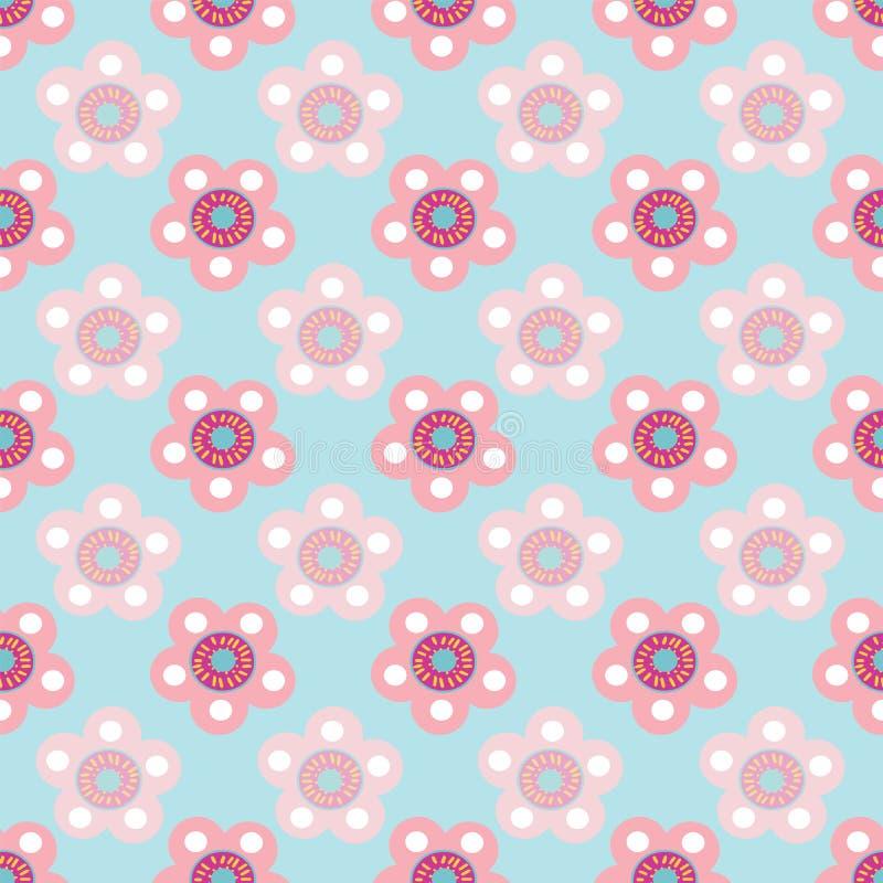 Repetición inconsútil floral en colores pastel del modelo del vector en fondo azul claro stock de ilustración