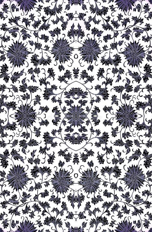 Repetindo o damasco floral ilustração do vetor