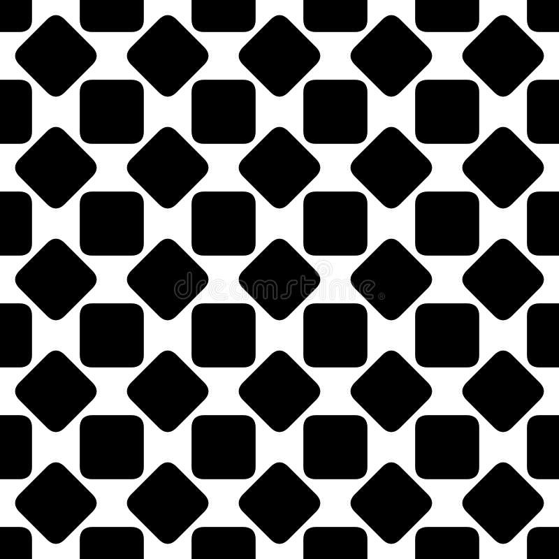 Repetindo o fundo quadrado arredondado preto e branco abstrato do teste padrão projete - a ilustração geométrica de intervalo mín ilustração stock