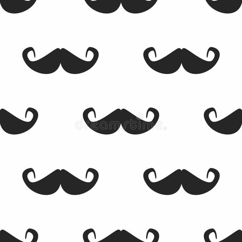 Repetindo silhuetas do bigode Teste padrão sem emenda simples ilustração stock