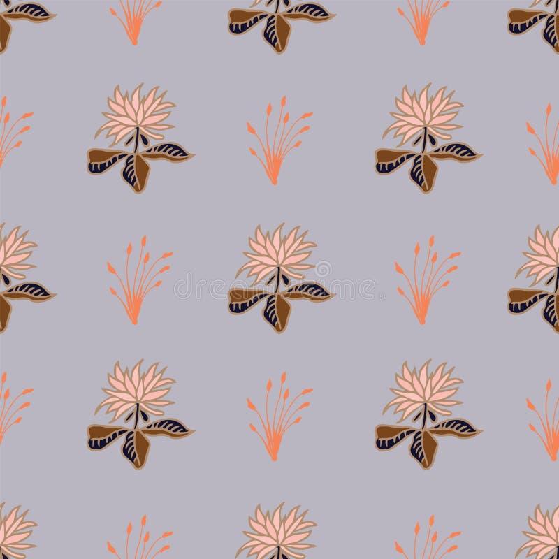 Repetition för modell för tropiska blommor för vektor sömlös på ljust - blå bakgrund vektor illustrationer