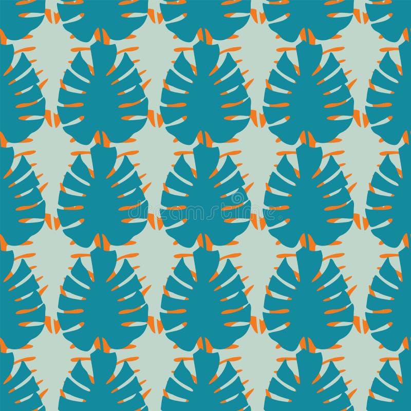 Repetition för modell vektorMonstera för tropiska sidor sömlös royaltyfri illustrationer