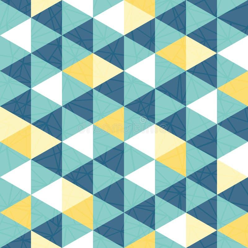 Repetition för textur för vektorblått- och gulingtriangeln mönstrar sömlös bakgrund royaltyfri illustrationer