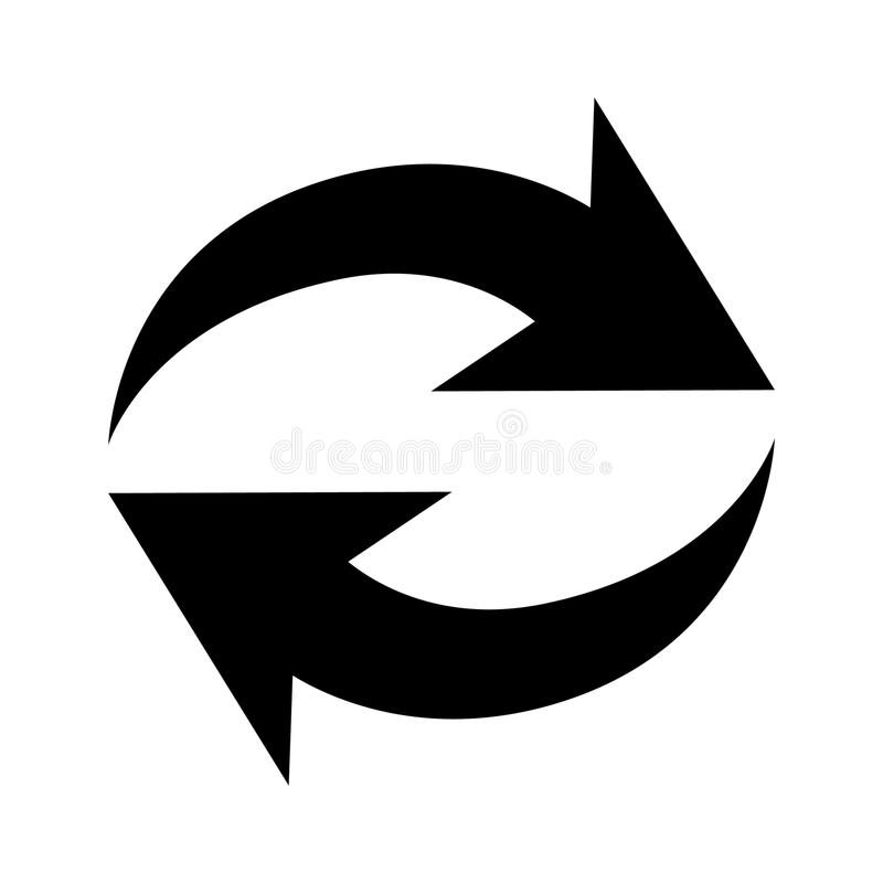 Repetitionsymbol för plan svart vektor illustrationer