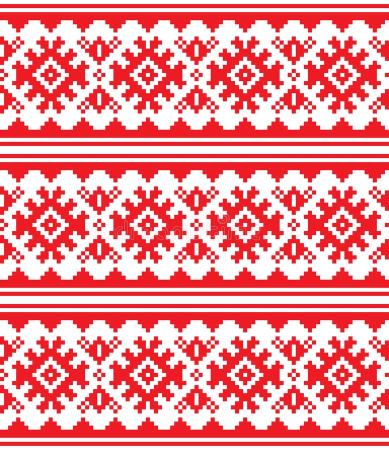 Scandinavian, Nordic vector seamless pattern, Lapland long red folk art design, Sami people traditional embroidery vector illustration