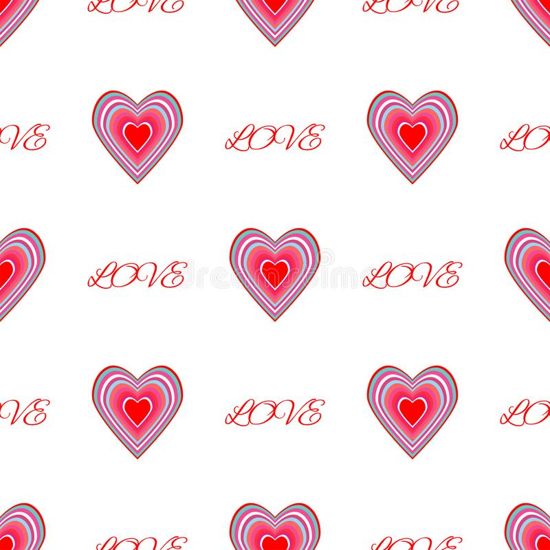 Repetitive hearts and text Love. Romantic seamless pattern. Vector illustration. Repetitive hearts and text Love. Romantic seamless pattern. Cute vector vector illustration