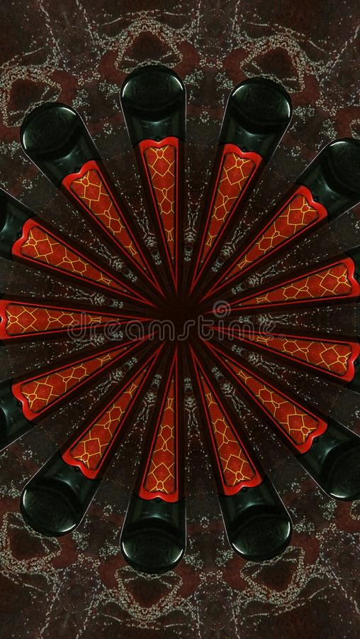 Repetitive patterns of red shapes on black and brown surfaces stock photos