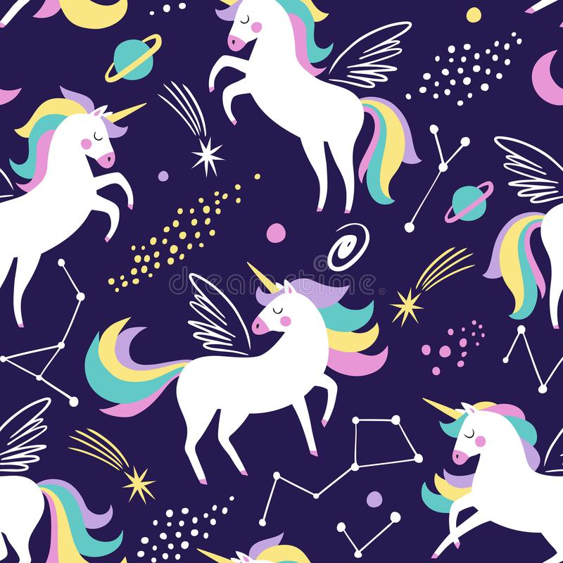 Hand drawn seamless vector pattern with cute unicorns, stars and planet. stock illustration