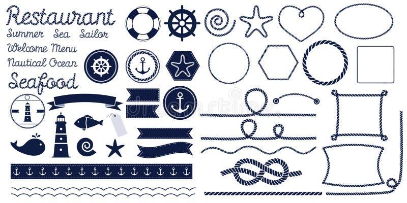 Repfnuren Marin- repfnuren Uppsättningen av det nautiska repet knyter, tränga någon och ramar vektor illustrationer