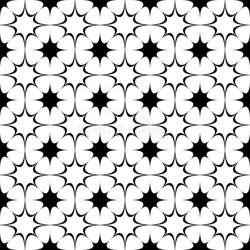 Repitiendo el modelo de estrella curvado blanco y negro abstracto - el gráfico de semitono del fondo del vector del octagram form ilustración del vector