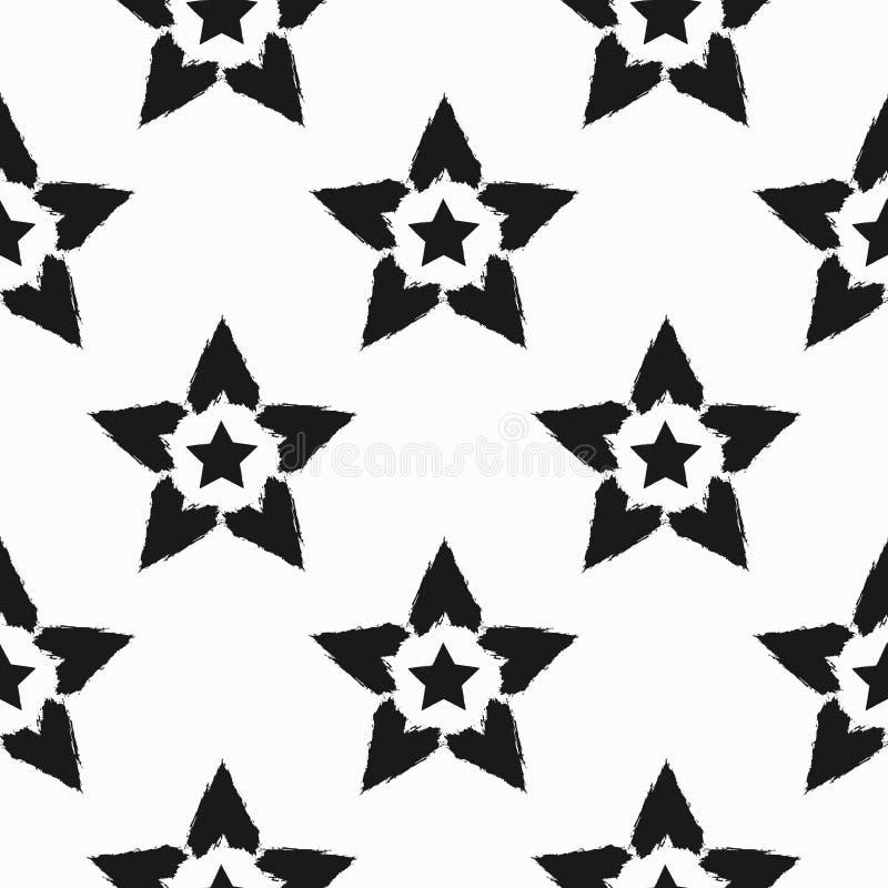 Repitiendo las estrellas dibujadas a mano con el cepillo áspero Modelo inconsútil Grunge, bosquejo, pintada, acuarela ilustración del vector