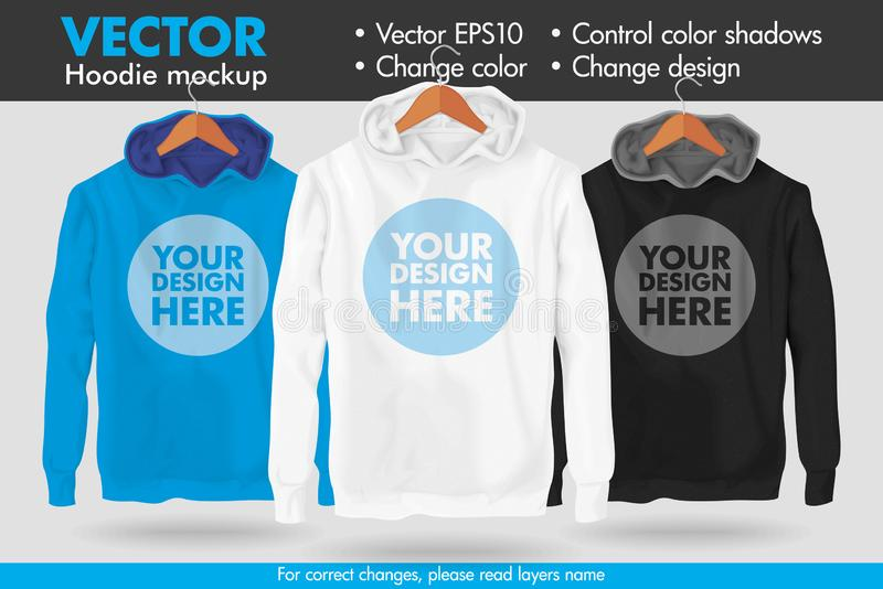 Replace Design Your Design Change Colors Hoodie Vector Mockup Template stock illustration