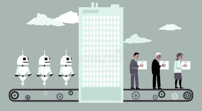 Replaced by robots stock illustration