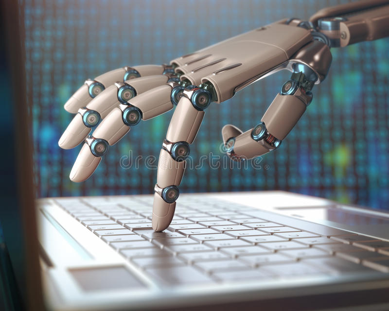 Replacement Of Humans By Machines. Robotic hand, accessing on laptop, the virtual world of information. Concept of artificial intelligence and replacement of