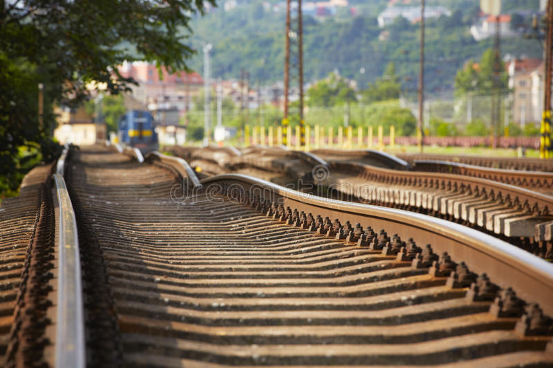 Replacement of railroad track stock photo