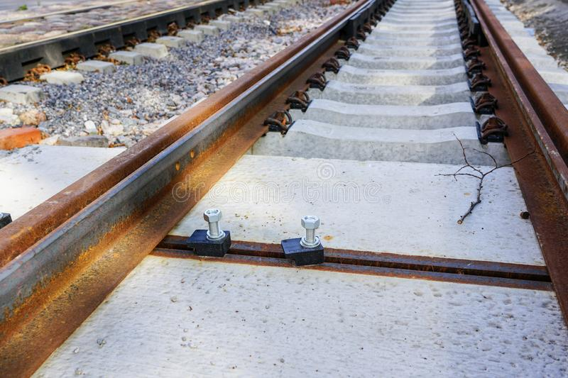 Replacement of tram rails, railroad reconstruction in city. Replacement of tram rails, railroad reconstruction on city street royalty free stock image
