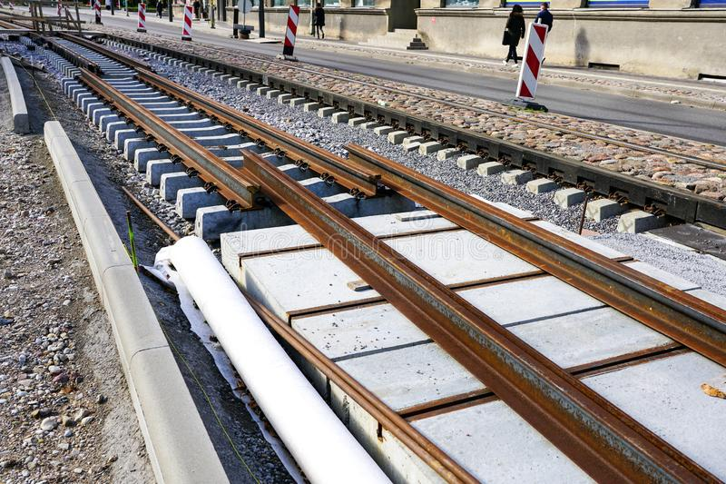 Replacement of tram rails, railroad reconstruction in city. Replacement of tram rails, railroad reconstruction on city street stock photos