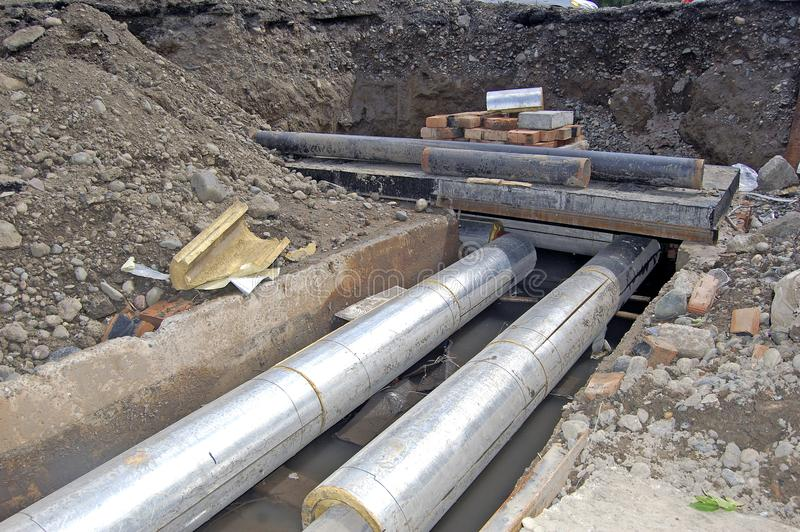 Replacement of underground pipeline pipes stock photo