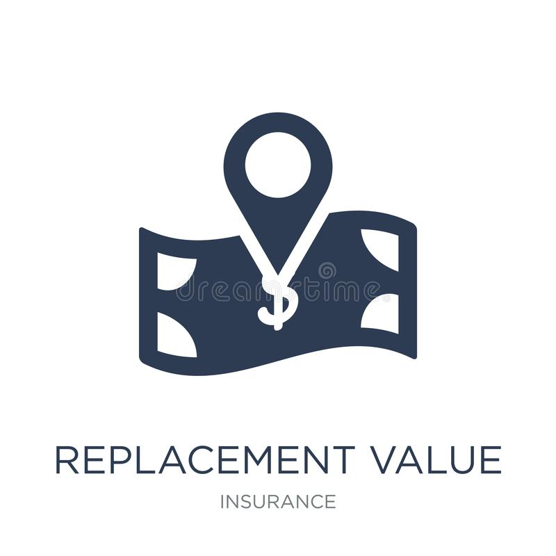 replacement value icon. Trendy flat vector replacement value icon on white background from Insurance collection stock illustration