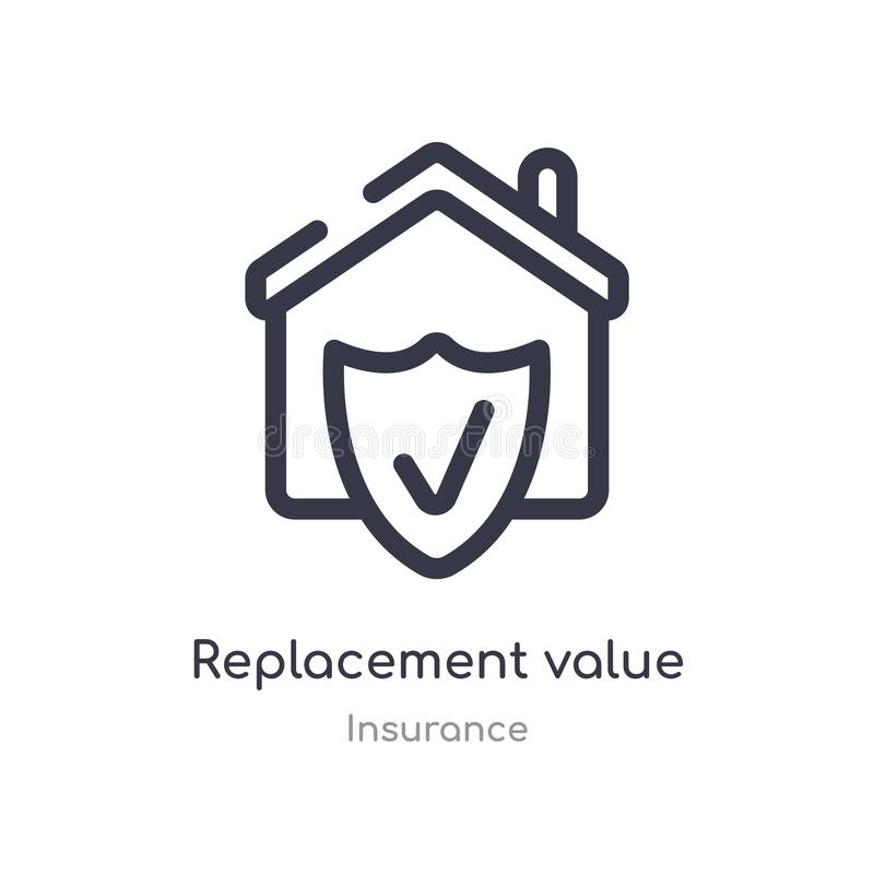 replacement value outline icon. isolated line vector illustration from insurance collection. editable thin stroke replacement stock illustration