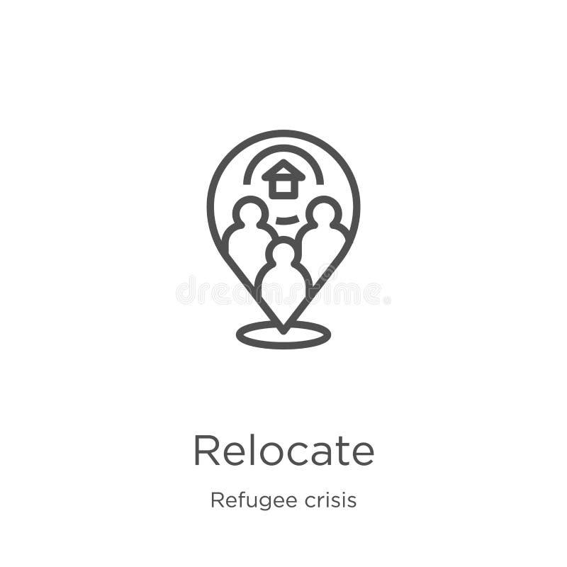 replacez le vecteur d'icône de la collection de crise de réfugié La ligne mince replacent l'illustration de vecteur d'icône d'ens illustration stock