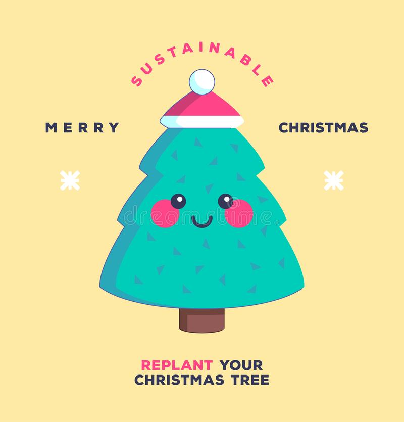 Replant your Christmas tree. Happy Holidays. Environmentally friendly and sustainability concept. royalty free stock photography