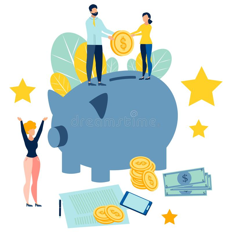 Replenishment семейного бюджета Люди добавляют сбережения к копилке В минималистичном стиле Вектор шаржа плоский иллюстрация штока