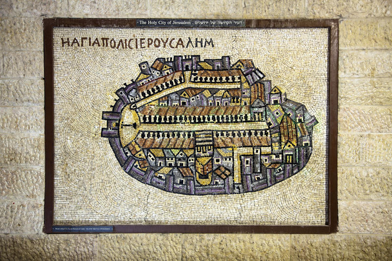 Old City of Jerusalem Mosaic. A replica of an ancient mosaic depicting the old city of Jerusalem, Israel stock photos