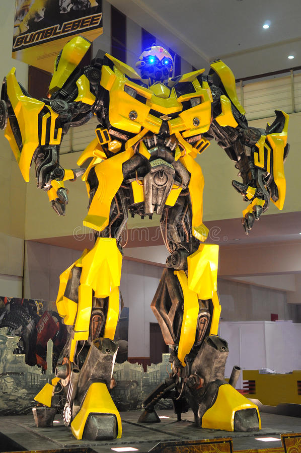 Replica of Bumblebee from Transformers were displa royalty free stock photography