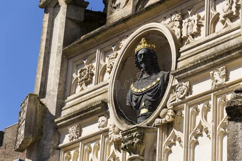 Replica bust of Charles I on Chichester city market Cross. In Chichester, West Sussex England UK royalty free stock photography
