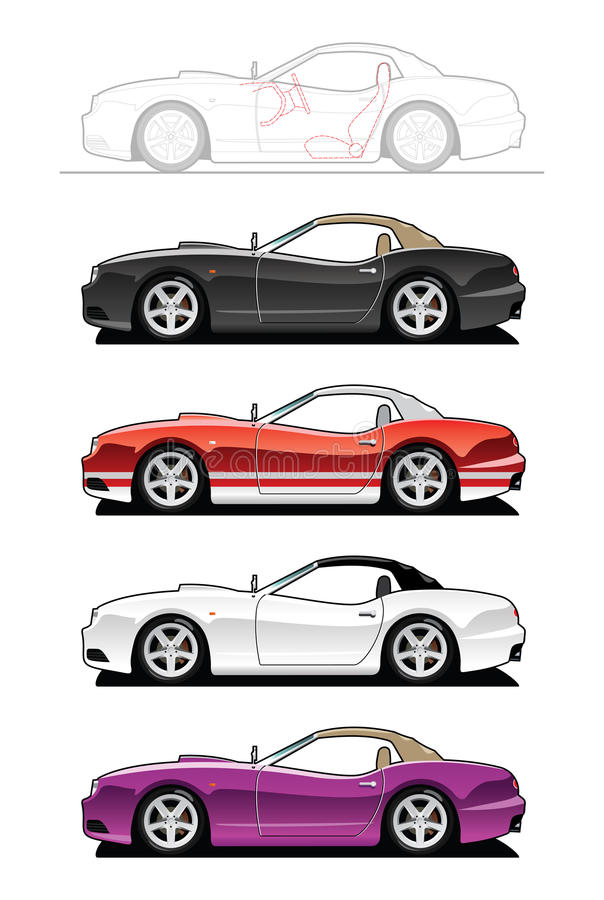 Replica car. Vector illustration of sports car. (Simple gradients only - no gradient mesh vector illustration