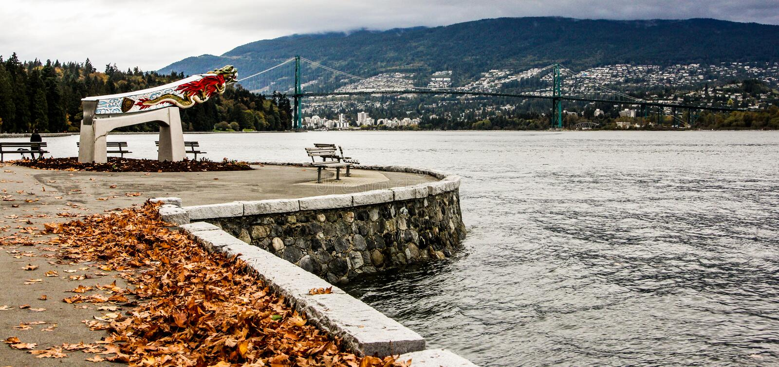 Replica of the Empress of Japan figurehead in Vancouver's Stanley Park stock photo