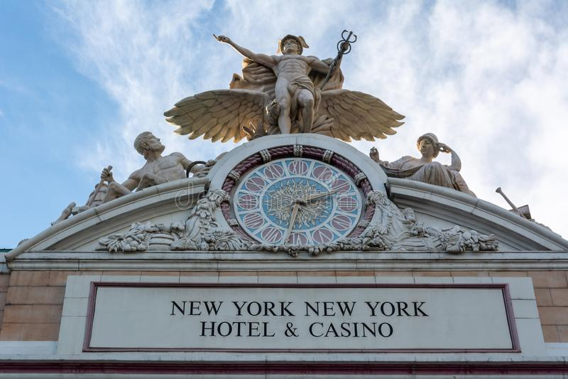 Replica of the Glory of Commerce sculpture crowning New York-New York Hotel and Casino in Las Vegas, NV stock photos