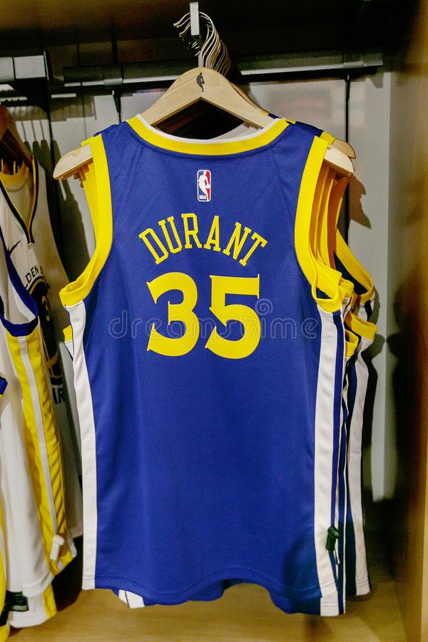 Replica jersey of Kevin Durant of Golden State Warriors. New York, October 20, 2017: Replica jersey of Kevin Durant of Golden State Warriors on sale in the NBA stock photography