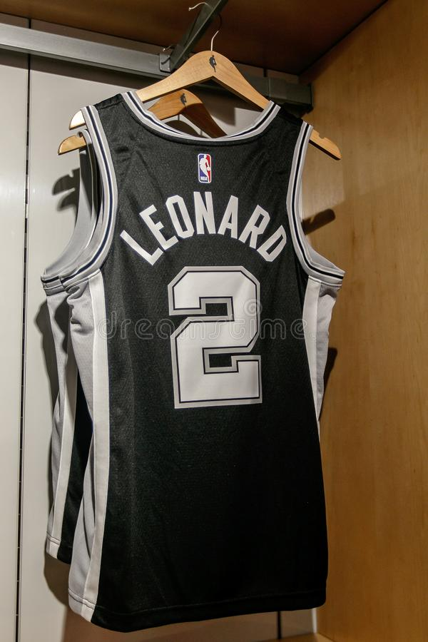 Replica Jersey van Kawhi Leonard van San Antonio Spurs royalty-vrije stock fotografie