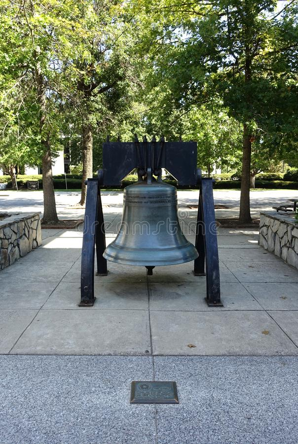 A Replica of the Liberty Bell in Downton Raleigh, NC. A Replica of the Liberty Bell in Downton Raleigh, North Carolina is located near the North Carolina Museum stock photo