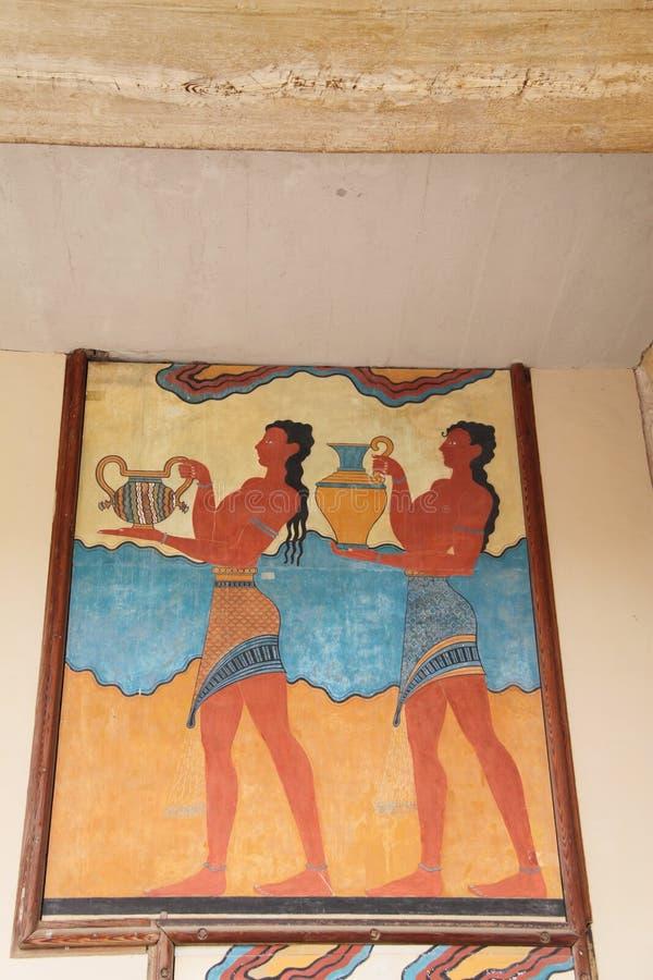Cup Bearer Fresco Knossos Crete Greece stock images