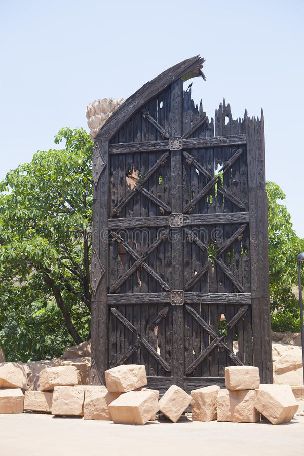 A replica of the old gate, in Sun City, South Africa stock photo