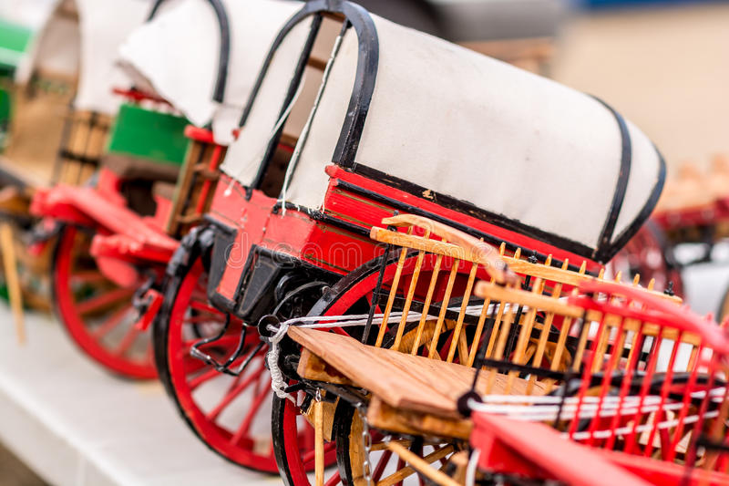 Replica of old red wagon stock photos