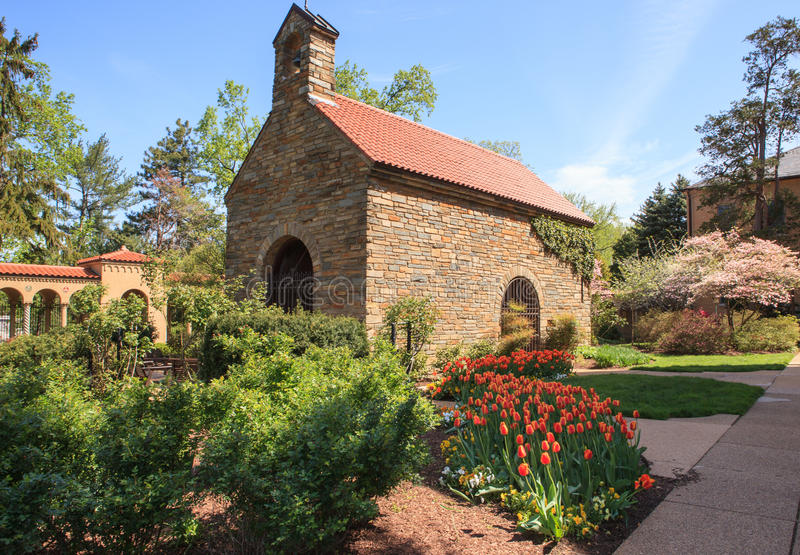 Replica of Portiuncula Chapel Washington DC. A replica of the 13th century portiuncula chapel sits on the grounds of the Franciscan Monastery in Washington DC royalty free stock images