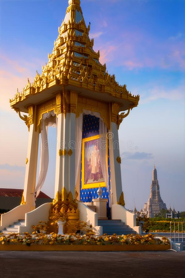 The replica of royal crematorium of His Majesty late King Bhumibol Adulyadej built for the royal funeral at Nakaphirom Park stock photo