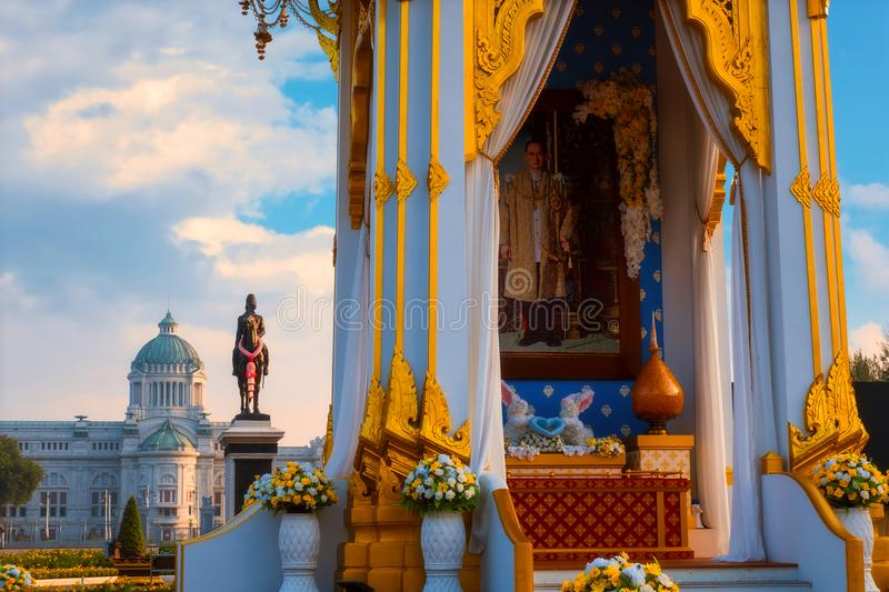 The replica of royal crematorium of His Majesty late King Bhumibol Adulyadej built for the royal funeral at The Royal Plaza royalty free stock photo