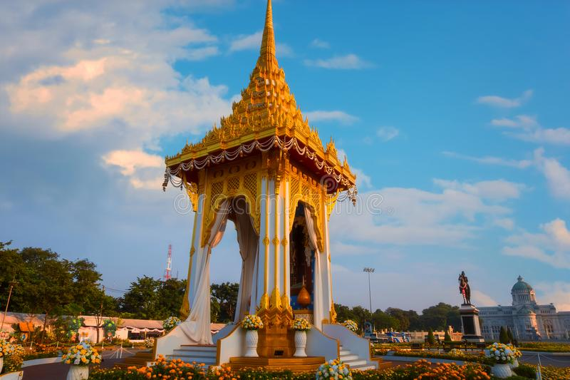 The replica of royal crematorium of His Majesty late King Bhumibol Adulyadej built for the royal funeral at The Royal Plaza royalty free stock images