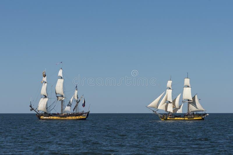 Replica's van het historische schepen varen royalty-vrije stock fotografie