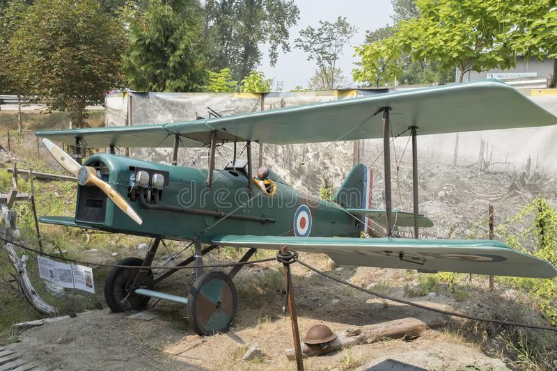 A replica of an SE5 Royal Air Force biplane stock photography