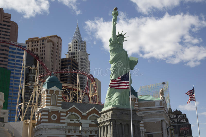 Replica of Statue of Liberty and New York New York hotel and casino in Las Vegas royalty free stock image