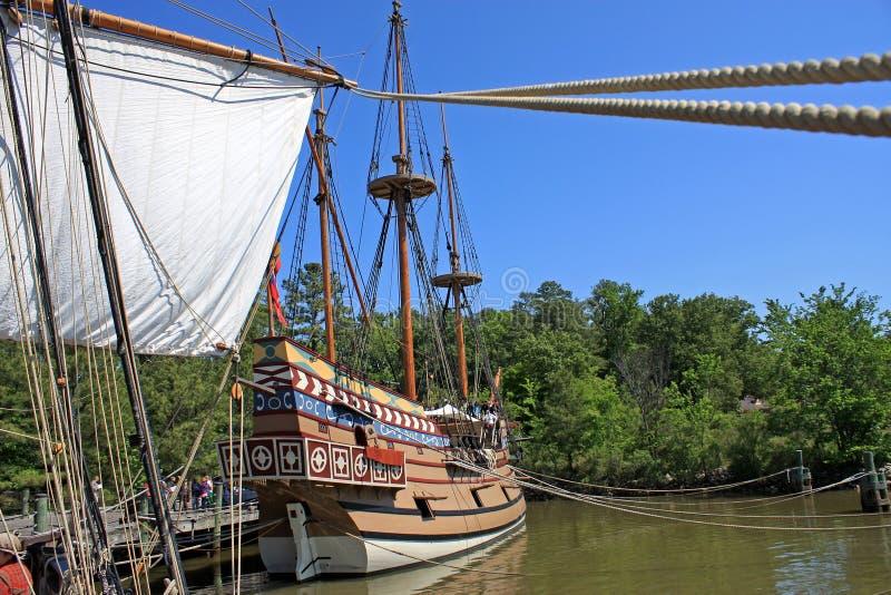 Replica tall ship. In Jamestown stock photos